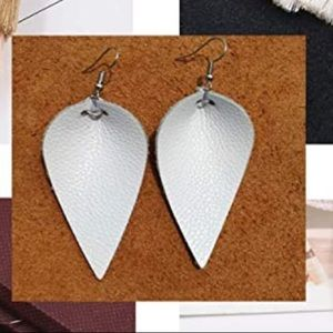4/$20 New white artificial leather earrings